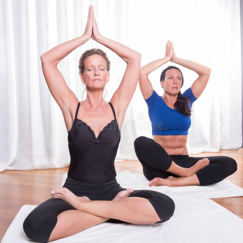做瑜伽的两名可爱的妇女 库存图片
