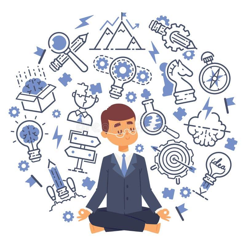 做瑜伽的办公室工作者使从辛苦的紧张情感镇静下来在有想法和想法象的办公室 向量例证