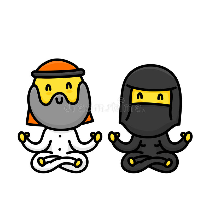 做瑜伽的动画片回教夫妇一起隔绝了传染媒介例证 库存例证