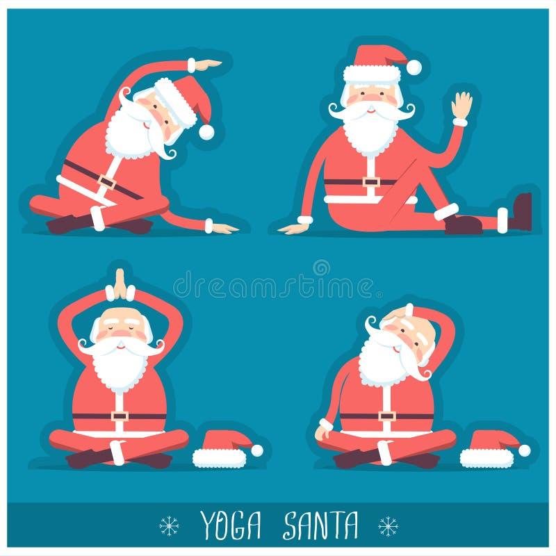 做瑜伽的圣诞老人被隔绝 传染媒介圣诞卡illustrati 库存例证