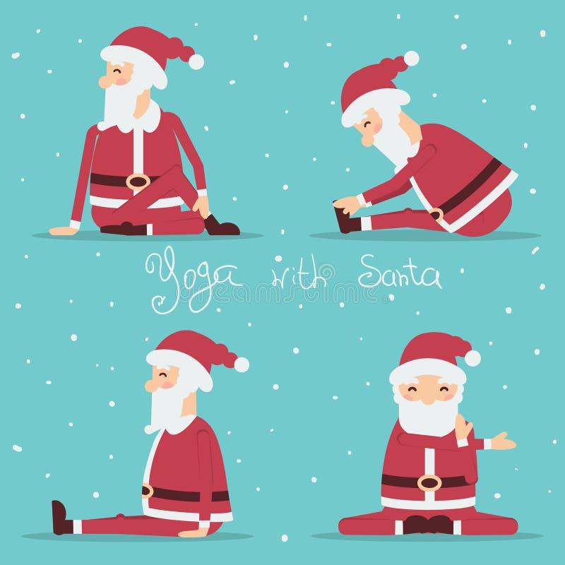 做瑜伽的圣诞老人 抽象颜色鱼例证向量 皇族释放例证