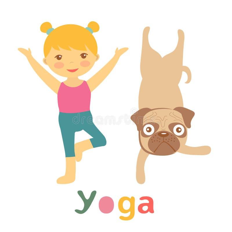 做瑜伽的小女孩和哈巴狗 库存例证