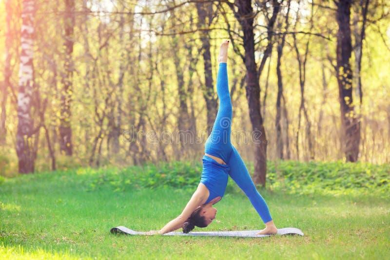 做瑜伽的少妇在夏天城市公园行使 健康生活方式概念 免版税库存照片