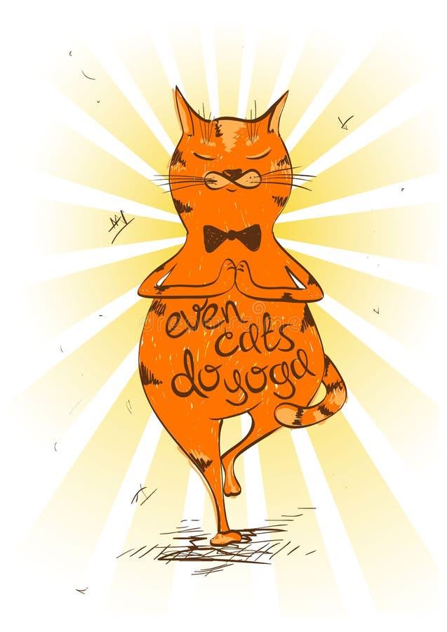 做瑜伽的树位置的动画片红色猫 皇族释放例证