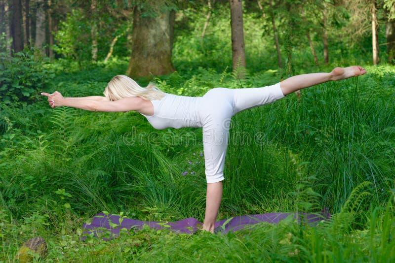 做瑜伽的美丽的少妇外面 库存照片