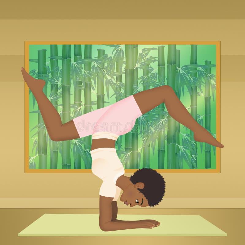 做瑜伽的黑人女孩 库存例证