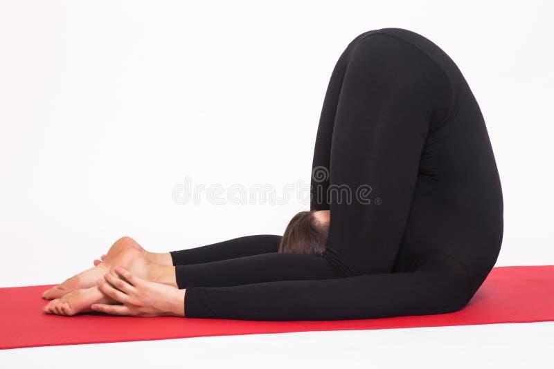 做瑜伽的黑衣服的美丽的运动女孩 karnapidasana asana -对耳朵姿势的膝盖 背景查出的白色 免版税图库摄影