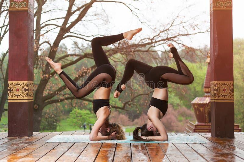 做瑜伽锻炼的两年轻女人户外 瑜伽凝思在公园 免版税库存照片