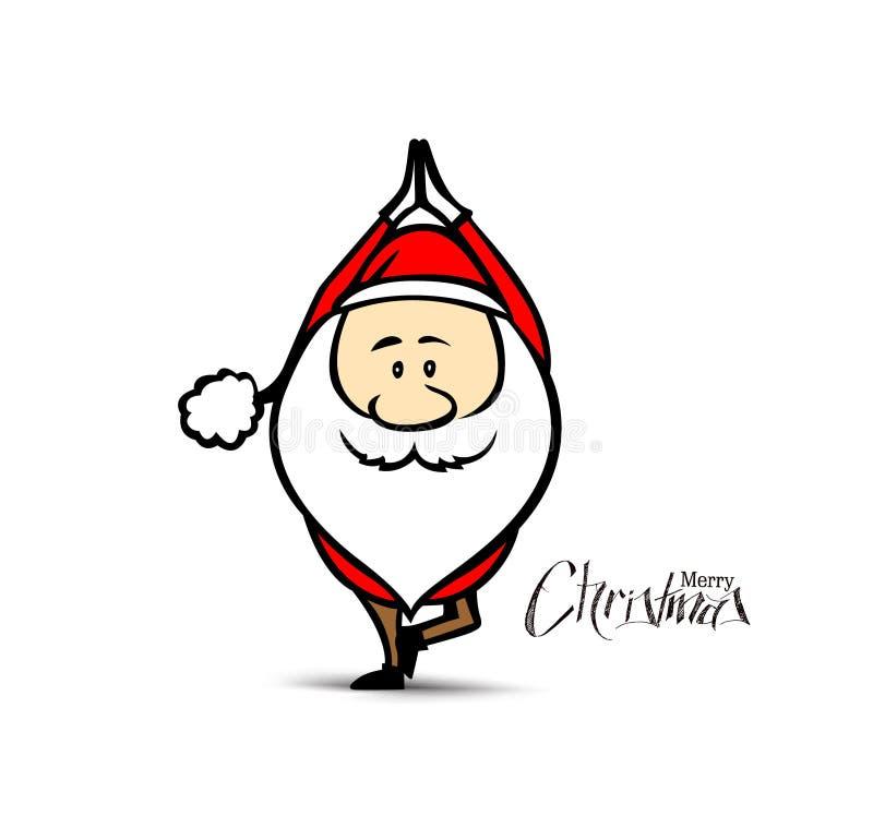 做瑜伽,圣诞节传染媒介例证的圣诞老人 库存例证