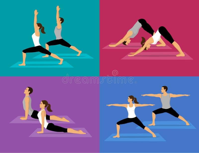 做瑜伽锻炼集合的夫妇 皇族释放例证