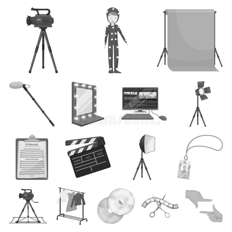 做电影在集合汇集的单色象的设计 属性和设备传染媒介标志股票网 库存例证