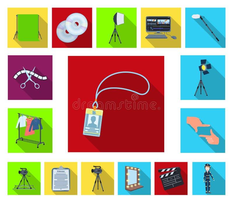 做电影在集合汇集的平的象的设计 属性和设备导航标志储蓄网例证 皇族释放例证