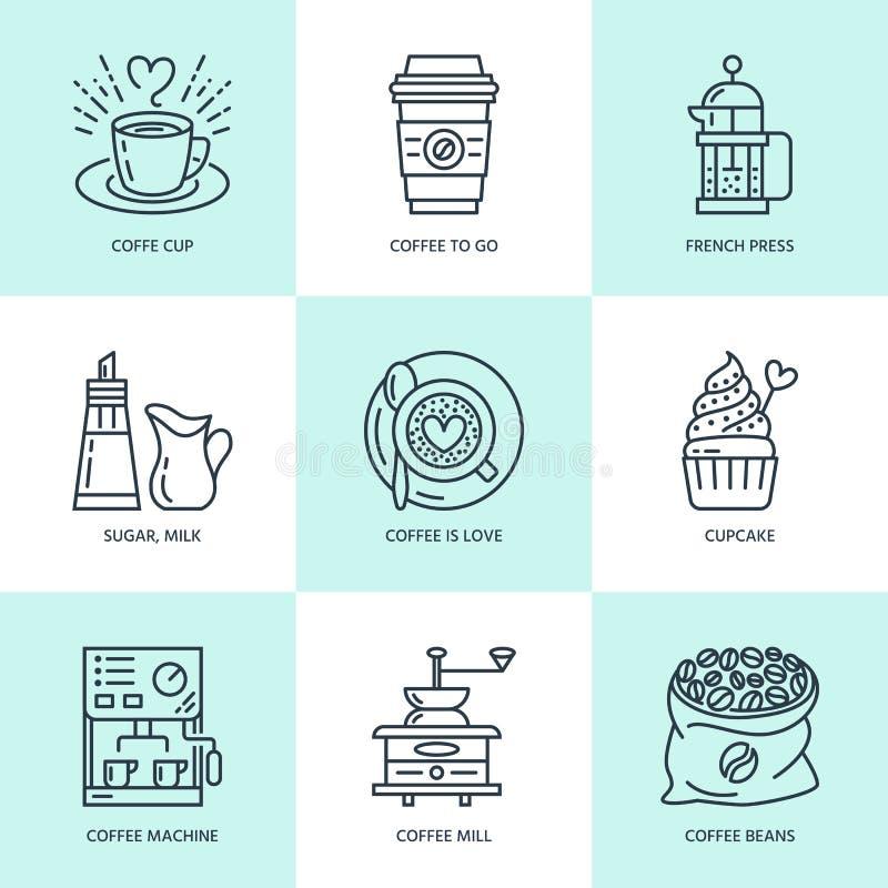 做的咖啡,酿造设备传染媒介线象 元素-咖啡机,法国人新闻,研磨机,浓咖啡,杯子,豆 皇族释放例证