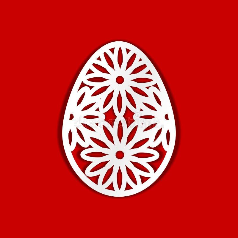 做的复活节彩蛋图象 激光切口,木雕刻,纸裁减和打印的模板 库存例证