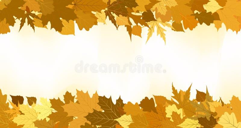 做的8片秋天边界eps金黄叶子 向量例证