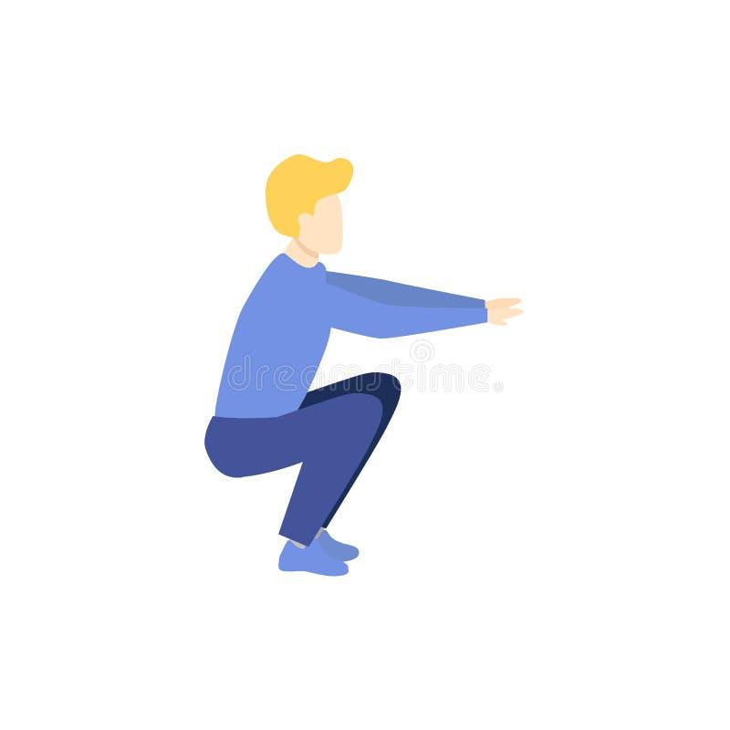 做矮小锻炼,侧视图画象的年轻人 向量例证