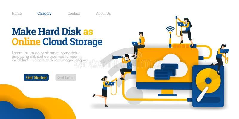 做硬盘作为网上云彩存贮 文件分享在覆盖主持的坚硬存贮 传染媒介平的例证概念,营销 库存例证