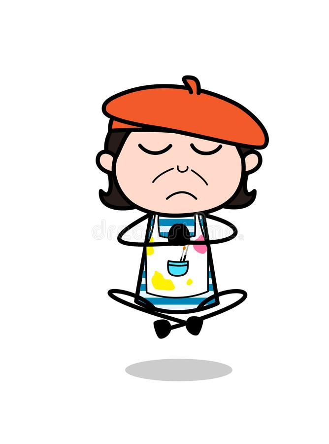 做祷告和瑜伽-动画片艺术家传染媒介例证 库存例证