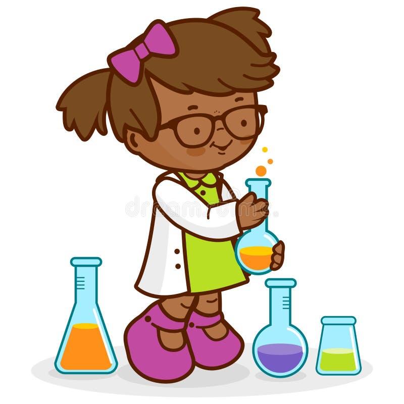 做科学实验的女孩 向量例证