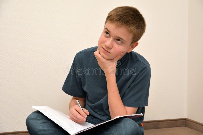 做算术家庭作业的男孩 库存图片