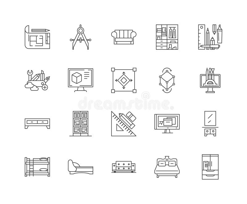 做线象,标志,传染媒介集合,概述例证概念的家具 库存例证