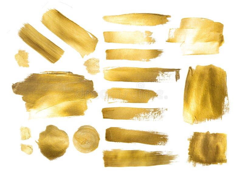 做背景的金黄油漆冲程的汇集 库存图片