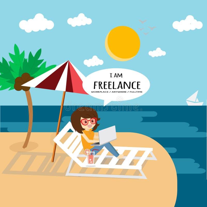 做自由职业者工作和任何地方缓慢的生活 库存例证