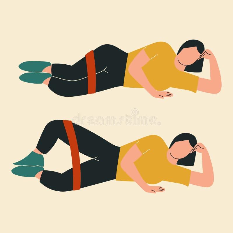 做蛤壳状机件的妇女 glute锻炼和锻炼的例证 r 向量例证