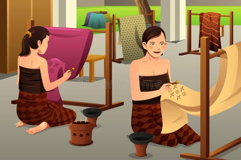 做蜡染布的妇女 库存例证