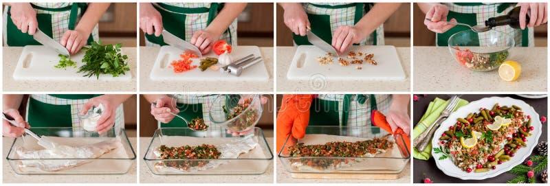 做被烘烤的鳕鱼一张逐步的拼贴画  库存图片
