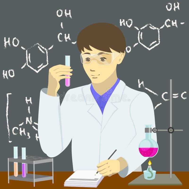 做试验的化学家 库存例证