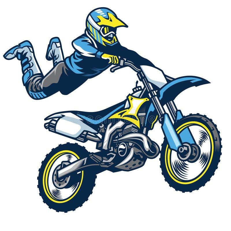 做超人把戏的摩托车越野赛车手 库存例证