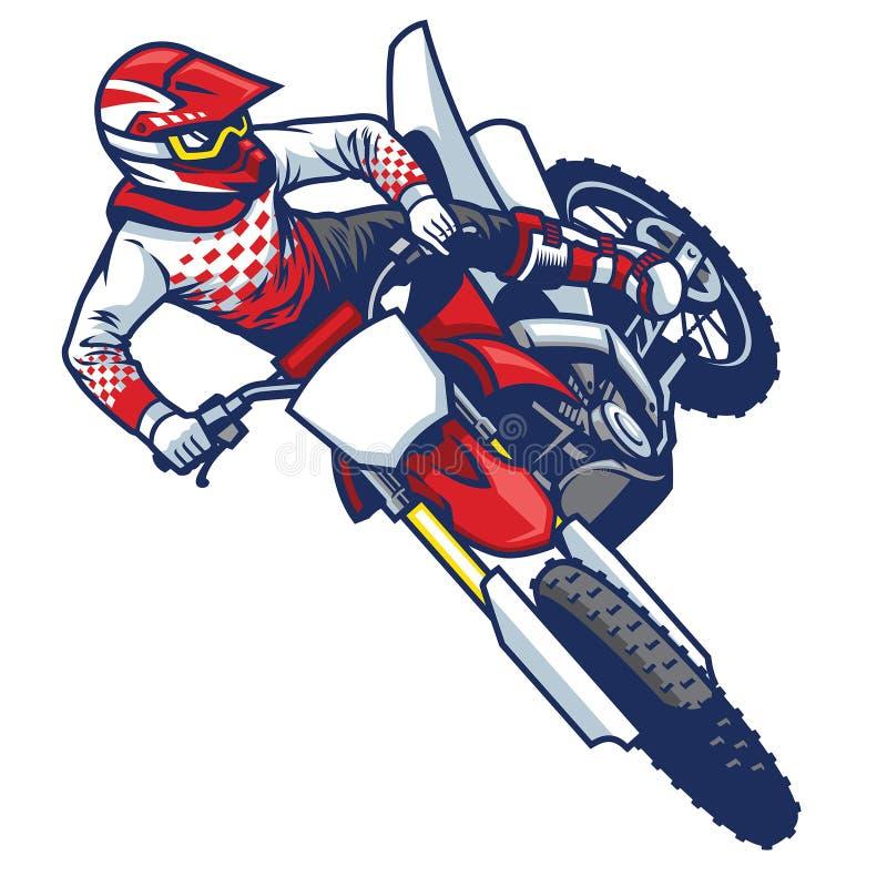 做跳跃的鞭子把戏的摩托车越野赛车手 皇族释放例证