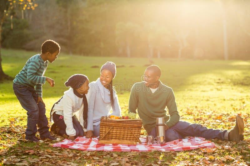 做野餐的年轻微笑的家庭 免版税库存图片