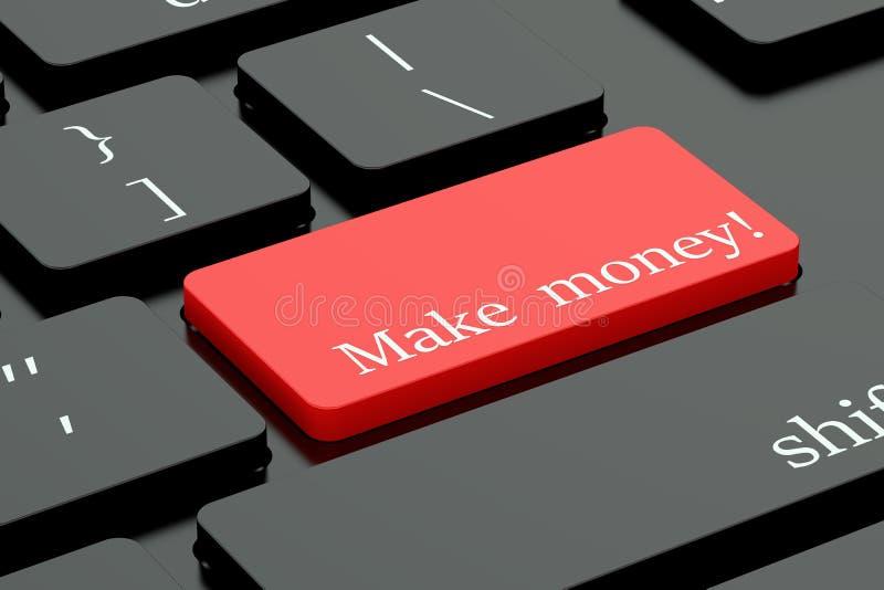 做金钱概念在键盘按钮 皇族释放例证