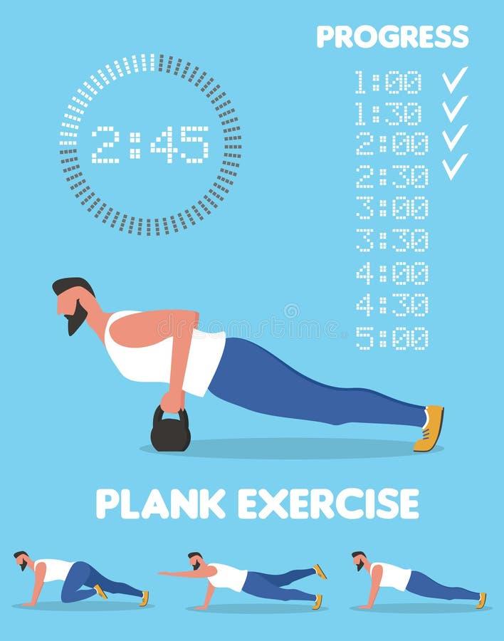 做铺板锻炼的健身人 向量例证