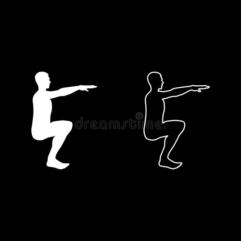 做锻炼的蹲下的人蹲下矮小体育行动男性锻炼剪影侧视图象集合白色例证 皇族释放例证