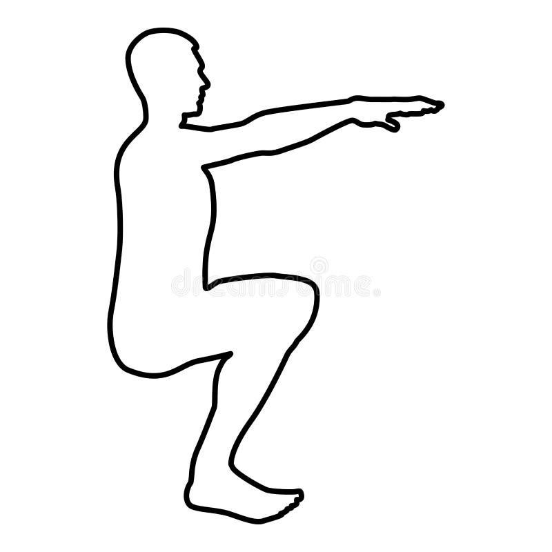 做锻炼的蹲下的人蹲下矮小体育行动男性锻炼剪影侧视图象黑色例证概述 皇族释放例证