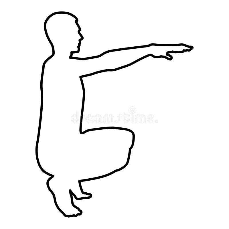做锻炼的蹲下的人蹲下矮小体育行动男性锻炼剪影侧视图象黑色例证概述 库存例证