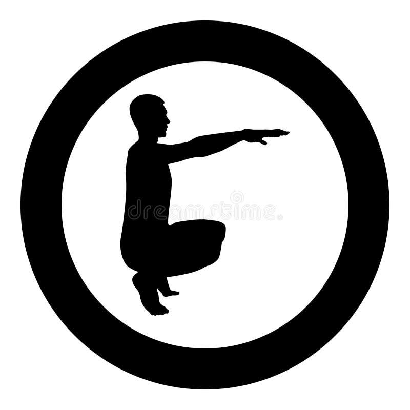 做锻炼的蹲下的人蹲下矮小体育行动男性锻炼剪影侧视图象黑色例证  向量例证
