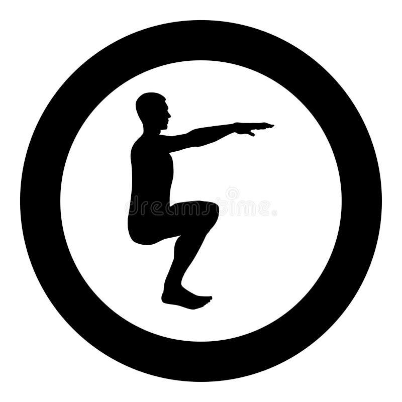 做锻炼的蹲下的人蹲下矮小体育行动男性锻炼剪影侧视图象黑色例证  皇族释放例证