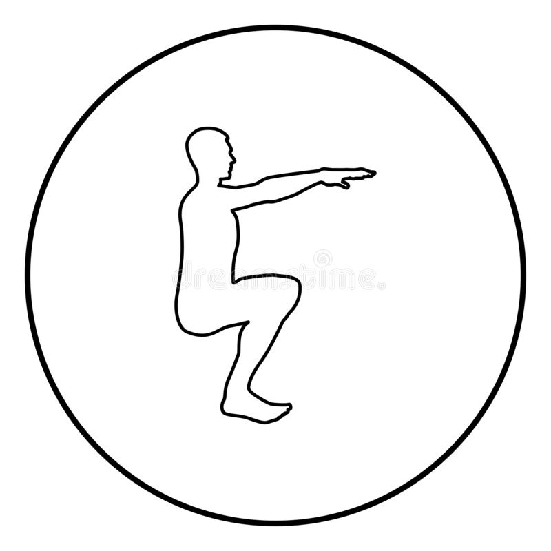 做锻炼的蹲下的人蹲下矮小体育行动男性锻炼剪影侧视图象黑色例证  库存例证