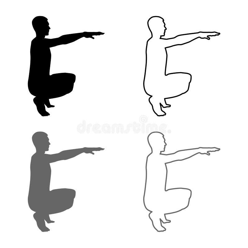 做锻炼的蹲下的人蹲下矮小侧视图象设置灰色黑色的体育行动男性锻炼剪影 皇族释放例证