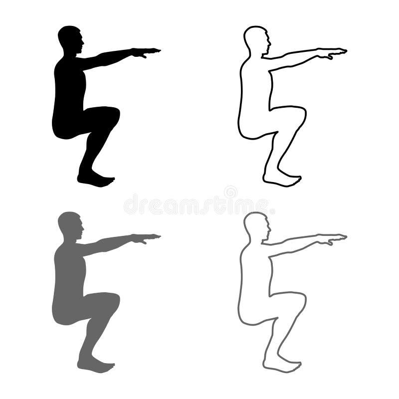 做锻炼的蹲下的人蹲下矮小侧视图象设置灰色黑色的体育行动男性锻炼剪影 库存例证