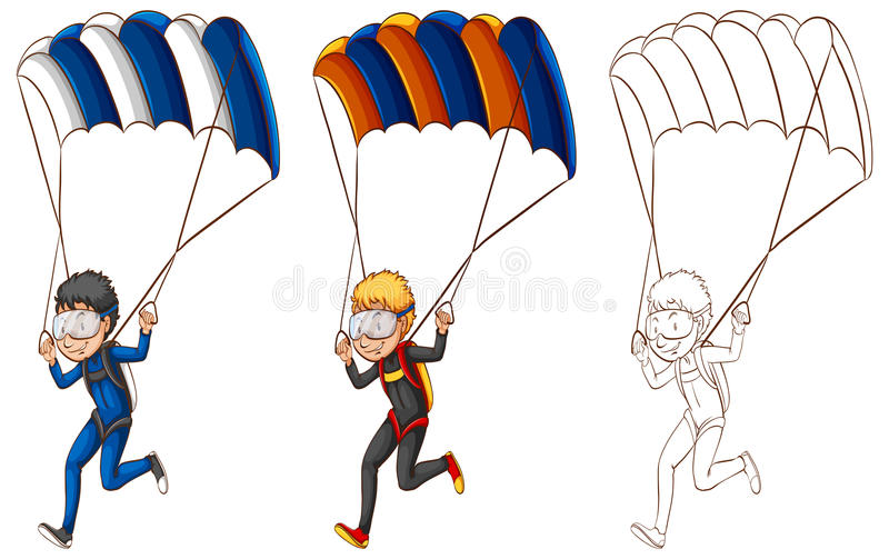 做降伞的人的起草的字符 向量例证