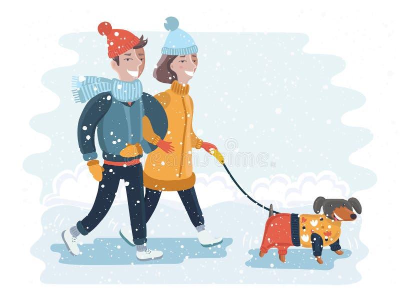 做雪人的孩子在一个晴天传染媒介例证 向量例证