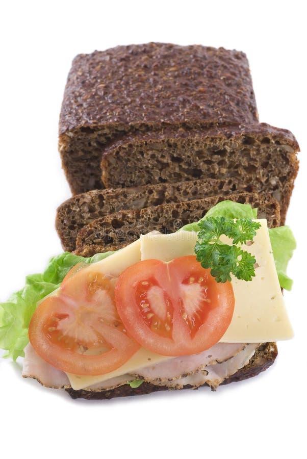 做面包黑麦三明治 图库摄影