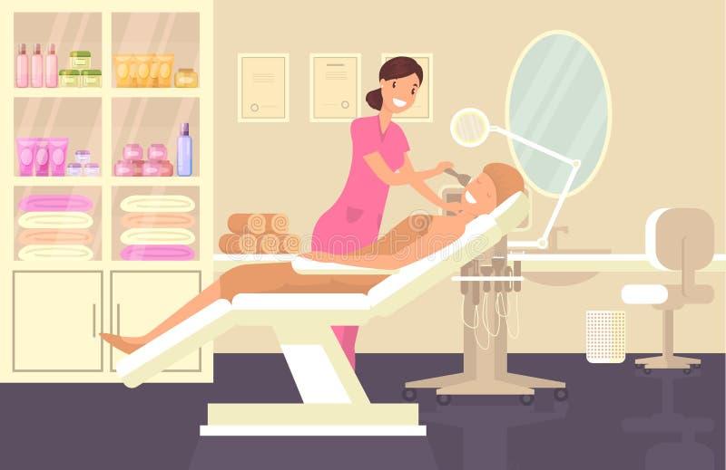 做面孔清洁的化妆沙龙的化妆师 向量例证