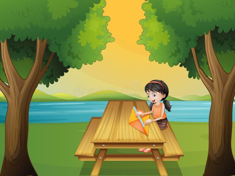 做风筝的女孩在桌上 向量例证