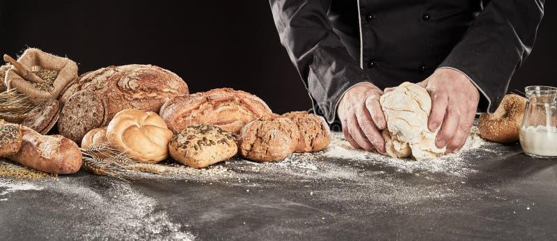 做食家面包的贝克揉的面团 库存照片